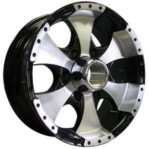 15x6 Trailer Style 136 (Black w/ Machined Face & Lip) Wheels/Rims