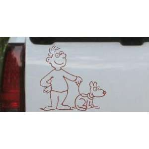 Brown 12in X 12.2in    Man and Dog Stick Family Car Window Wall Laptop