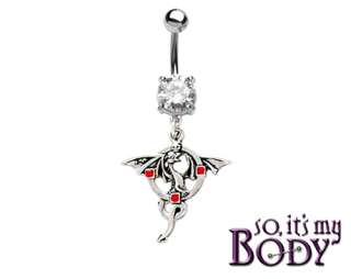 WINGED DRAGON RED GEMS SILVER DANGLE BELLY RING 14g