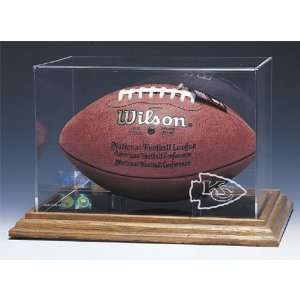 City Chiefs NFL Football Display Case (Wood Base)