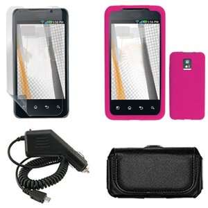 iNcido Brand LG G2X Combo Solid Hot Pink Silicone Skin Case Faceplate