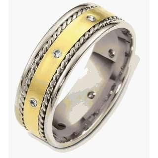 18 Karat Two Tone Gold Diamond Rope Style Band   8
