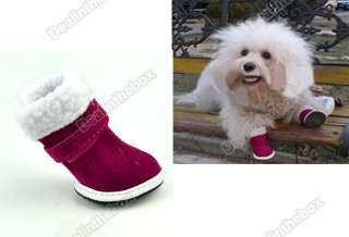 Cute Red Warm Walking Cozy Pet Dog Shoes Boots Santa Puppy Apparel 5
