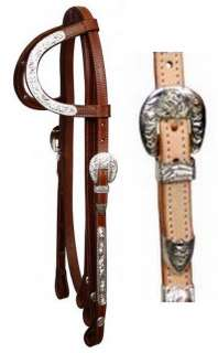 WESTERN SADDLE HORSE SHOW BRIDLE HEADSTALL W/7 SPLIT REINS MEDIUM OR