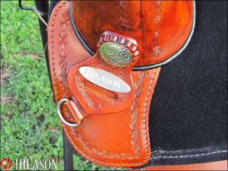 AW112B Hilason Treeless Western Trail Barrel Saddle 15