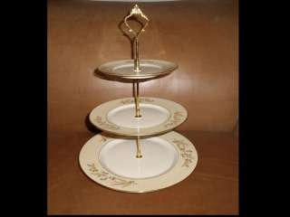 Franciscan ACACIA 3 Tier Server Cake Stand Plate Snack Tray FREE US