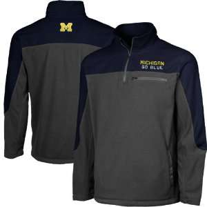Michigan Wolverines Charcoal Navy Blue Polar Fleece Quarter Zip