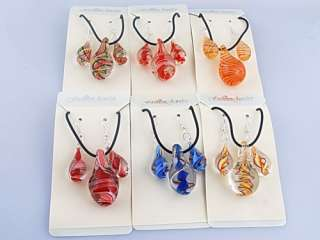 Wholesale 6sets Drop Volute Murano Glass Necklaces Earrings Jewerly
