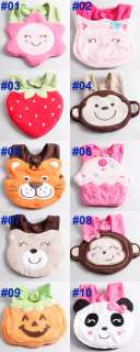 lunch bibs cute cartoon 3d animal soft Saliva towel button design N063
