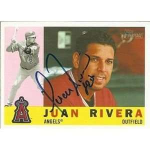 Juan Rivera Signed Angels 2009 Topps Heritage Card Sports