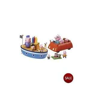 Peppa Pigs Deluxe Playset with Grandpa Pigs boat, Daddys