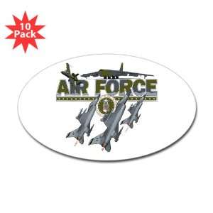 Sticker (Oval) (10 Pack) US Air Force with Planes and Fighter Jets
