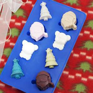 Christmas santa tree bear Soap Candle Mini Silicone Mold 8 Cavity 0.45