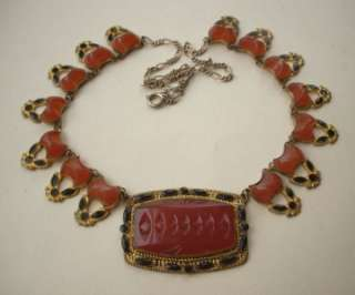 FINE Vtg Art Deco Egyptian Czech Glass & Enamel Necklace