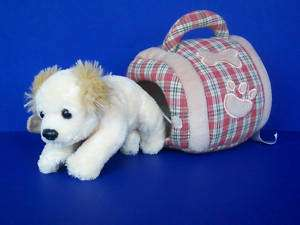 ANIMAL ALLEY Toys R Us plush blond PUPPY dog in CARRIER