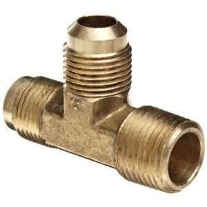 Anderson Metals Brass Tube Fitting, Tee, 3/8 Flare x 3/8 Flare x 1/4
