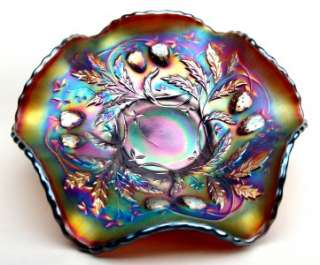 WILD STRAWBERRY by NORTHWOOD ~ AMETHYST CARNIVAL GLASS BERRY BOWL