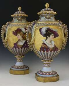 PAIR FRENCH OLD PARIS COVERED VASES LOUIS PHILIPPE PERIOD RENAISSANCE