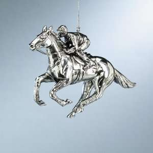 Silvertone Race Horse With Jockey Christmas Ornament