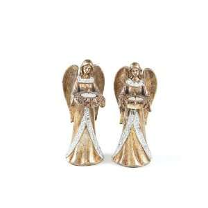 Pack of 4 Rustic Fire Antique Gold Angel Tea Light Candle Holders with