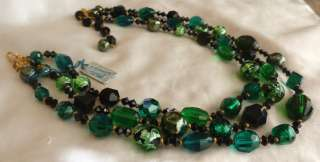 VTG HATTIE CARNEGIE BLACK GREEN GLASS FOIL BEAD CRYSTAL NECKLACE