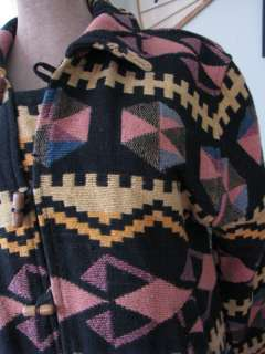 VTG NAVAJO NATIVE SOUTHWEST AZTEC BLANKET JACKET COAT TOGGLE FESTIVAL
