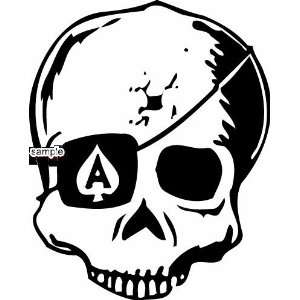 ACE OF SPADES EYE PATCH SKULL WHITE VINYL DECAL STICKER