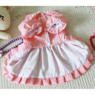 Dog Pet Puppy Pink Skirt Dot Point Pattern Lace Dress Costume Clothes