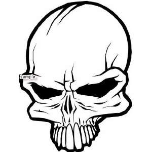 SKULL HEAD WITH BIG TEETH SKULL WHITE VINYL DECAL STICKER
