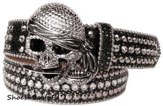 simon SWAROVSKI CRYSTAL SKULL SILVER BUCKLE BELT BB M 32 $245 NEW