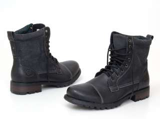 Mens Boots Military Combat Style Shoes Canvas & Faux Leather Outer