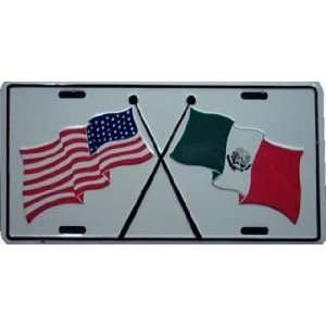 Mexico Usa Friendship Flag Embossed Metal License Plate Auto