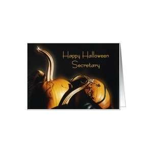Happy Halloween Secretary, Orange pumpkins with shadows and light Card