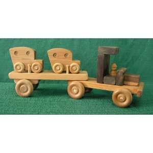 Large Wood Toy Car Carrier with Two Cars Toys & Games