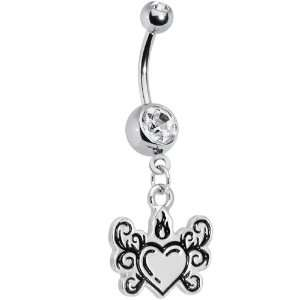 Crystalline Gem Tribal Flame Heart Belly Ring Jewelry