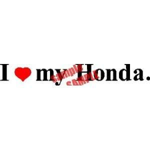 I HEART LOVE MY HONDA LOGO WHITE DECAL STICKER VINYL