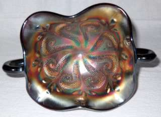 Dugan QUESTION MARKS Amethyst Carnival Glass Compote