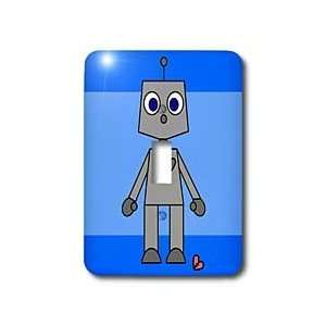 Janna Salak Designs Love   Cute Robot Blue Background   Light Switch