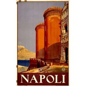 1920 Poster showing Vesuvius and the bay of Naples