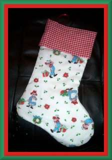 Handmade Christmas Stocking Vintage Raggedy Ann & Andy