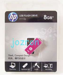 HP v115p 8GB 8G USB Flash Pen Drive Memory Disk Pink