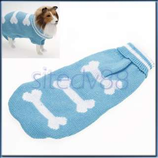 Blue Pet Puppy Dog Turtleneck Sweater Bone Clothes Costume Coat Jacket