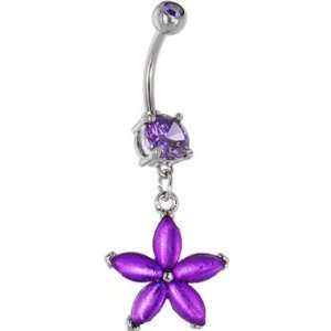 Purple Amethyst Gem Vibrant Lily Belly Ring Jewelry