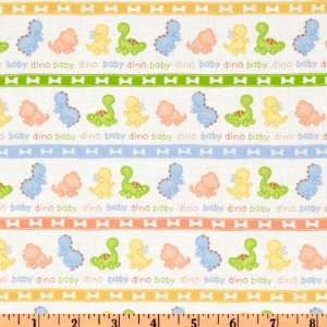 44 Wide Nursery Time Baby Dino Stripe White Fabric By