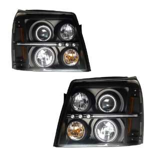 2002 2006 Escalade KS Black CCFL Halo Projector Headlights