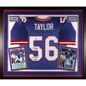 Lawrence Taylor Framed Autographed Deluxe Blue Jersey with