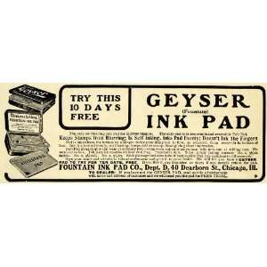 1908 Ad Fountain Geyser Stamping Stamp Ink Pad Chicago