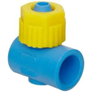 Compression Tube Fitting, Single Banjo Body, Yellow/Blue, 5/16 Tube