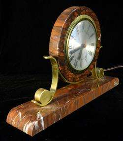 Mid Century Art Deco Marble Gilt Metal Desk Clock by Sessions
