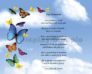 Personalized Grandma Grandmother Poem Keepsake Gift